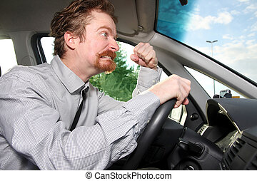 mad driver in a car