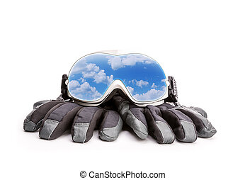 Winter sport glasses and gloves isolated on white background