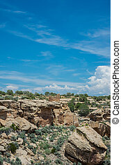 Ruins and Canyon at Hovenweep - Desert landscape with ruins...