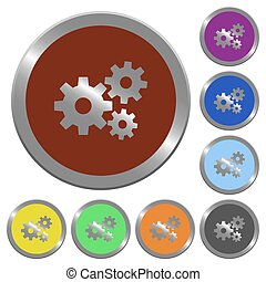 Color gears buttons - Set of glossy coin-like color gears...