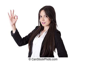 business woman making ok