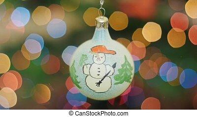Christmas white ball shakes at background bokeh