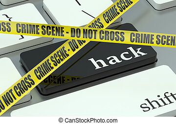 hack concept, on the computer keyboard