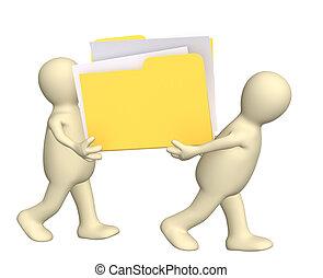 Teamwork - 3D puppets, holding in hands folder