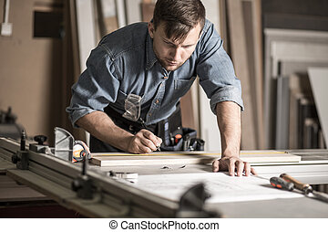 Woodworker working on professional workbench - Picture of...