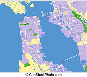 San Francisco - layered vector map of San Francisco