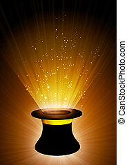 Magic top hat - Vertical background of brown color with...