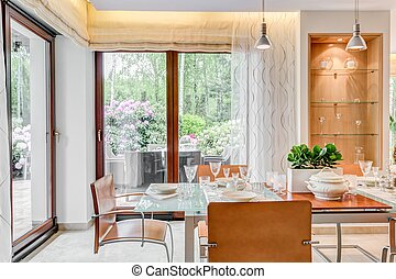 Dining room with large windows - Modern style dining room...
