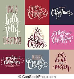 Merry Christmas Lettering Design Set Vector illustration...