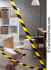 Cordon tape and crime - Cordon tape is securing the crime...
