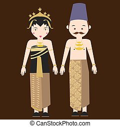 central java javanese indonesian traditional clothes woman...