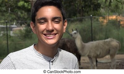 Teen Hispanic Boy at Zoo
