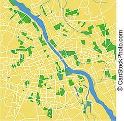 Warsaw - Vector map of Warsaw