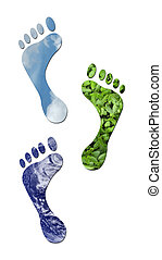 Ecological footprints - Footprints made up of green leaves,...