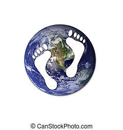 Ecological footprints - White footprints over Earth to...