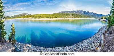 Hyalite Canyon Reservoir - Panorama of Hyalite Reservoir in...
