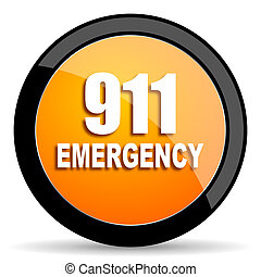number emergency 911 orange icon