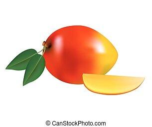 Ripe fresh mango with slice