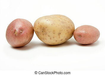 Potato Line up of two red skins and one large baking potato...