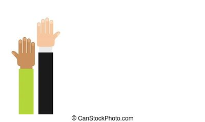 Hands raised design, Video animation HD1080