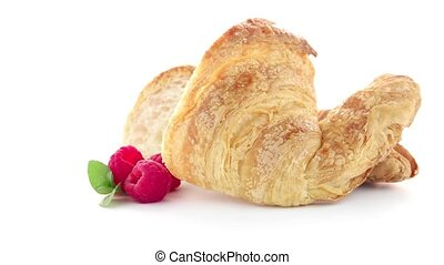 Croissant and raspberries - Fresh croissant and raspberries...