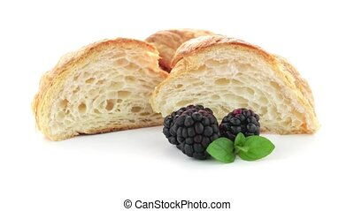 Croissant and blackberries - Fresh croissant and...