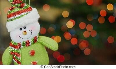 Christmas snowman toy shakes at bokeh. Title area