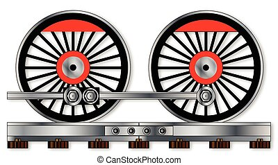Pair Of Train Wheels - A pair of connected steam train...