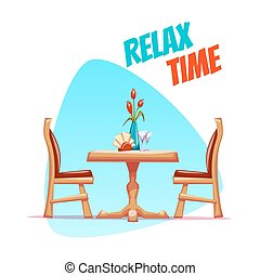 Vector illustration of cafe table with two chairs