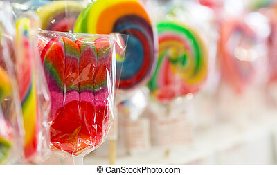 Lollipops - Colorful covered lollipops in a candy shop