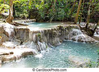 Tropical waterfall Erawan Kanchanaburi in Thailand place