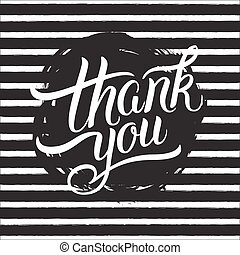 Thank You hand lettering.Calligraphic design for greeting...