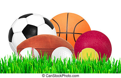 Sports balls on green grass isolated on white