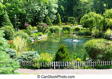 Beautiful lake in the green spring park
