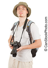 young tourist with camera