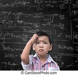 Thinking child with a blackboard in