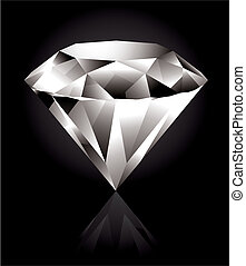 Diamond - Shiny and bright diamond on a black background