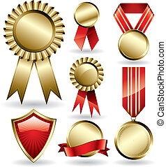 Award ribbons - Set of shiny red and gold award ribbons