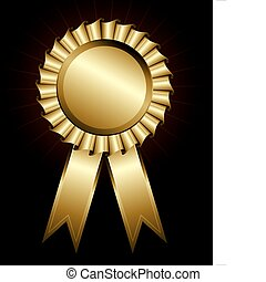 Golden award ribbon - Vector illustration of a shiny award...