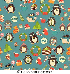 Christmas Seamless Background with Penguins