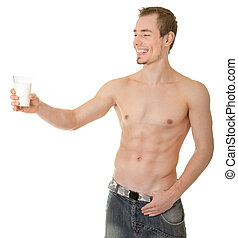 young sportsman with a bare torso - young man with a bare...