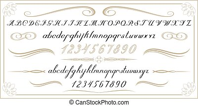 ALPHABET Old handwritten letters and numbers - Old...