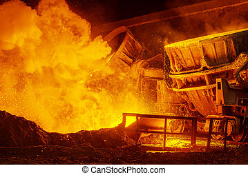 Steel plant - very hot steel pouring in steel plant