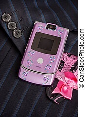 Pink mobile phone - isolated pink mobile phone decorated...