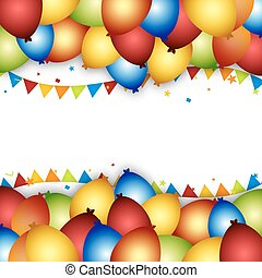 Balloon celebration background with flags, confetti and ribbons.