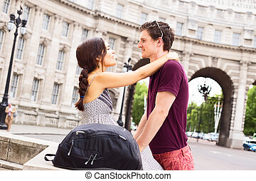 couple in London - young couple by admiralty arch in london