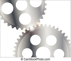 Gearing With Glare - Two interlocking gears with a bright...