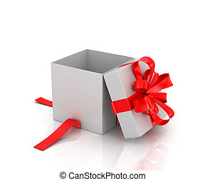 Open white gift-box with red ribbon on a white background