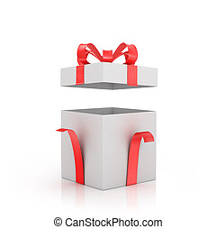 Open white gift-box with red bow and red ribbon