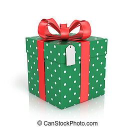 Gift box wrapped with red ribbon with a red bow on a white...